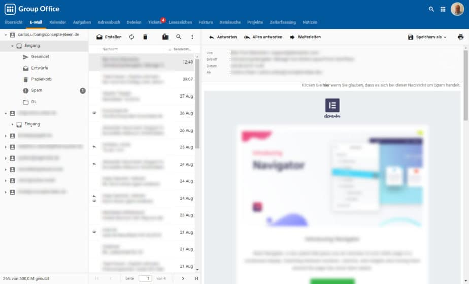 E-Mail bei Group-Office Groupware