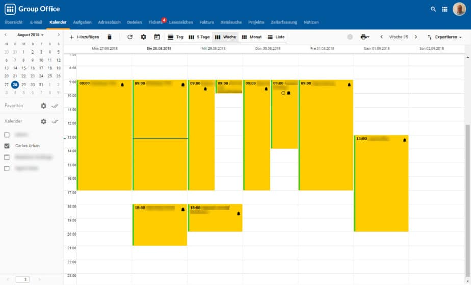 Kalender bei Group-Office Groupware