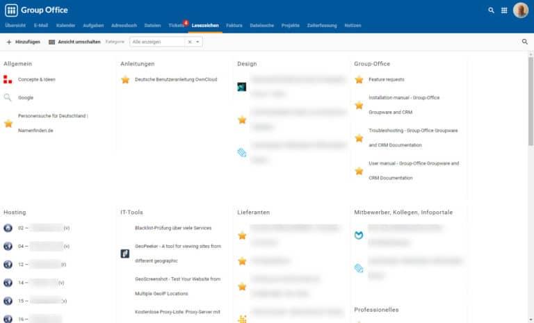 Lesezeichen bei Group-Office Groupware